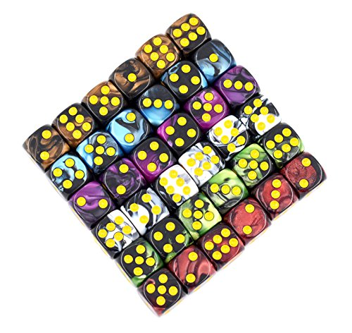 Smartdealspro 6 x 7 Sets 42 Pieces TWO COLORS Polyhedral Dice with Free Pouches for Dungeons and Dragons DND RPG MTG Table Games D4 D8 D10 D12 D20 6-Color Set 3